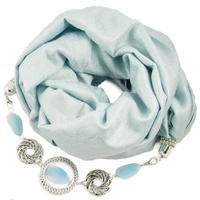Warm scarf with necklace - light blue