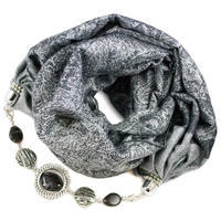 Warm scarf with necklace - grey