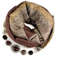 Warm scarf with necklace - brown