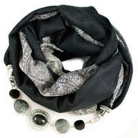 Warm bijoux scarf - black and grey