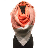 Blanket square scarf - orange and grey
