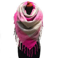 Blanket square scarf - grey and fuchsia pink