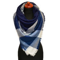Blanket square scarf - blue