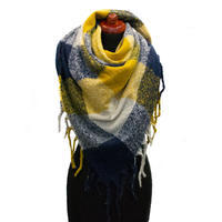 Blanket square scarf - mustard yellow and blue