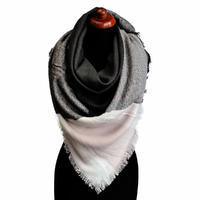 Blanket square scarf - black and pink