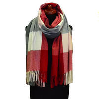 Blanket scarf - red and grey