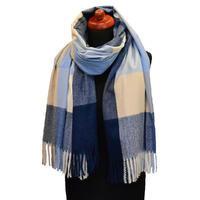 Blanket scarf - blue and beige