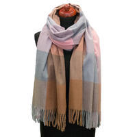 Blanket scarf - blue and brown