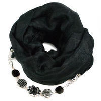 Warm jewelry scarf - black