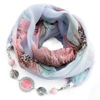 Cotton jewelry scarf - blue and white