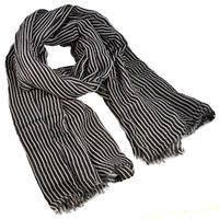 Classic cotton scarf - black and white stripes