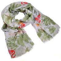 Classic cotton scarf - white and green
