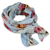 Classic women's cotton scarf - blue with flowers