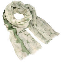 Classic women's scarf - white and green