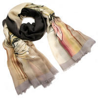 Classic women's scarf - beige and brown