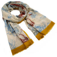 Classic women's scarf - beige and mustard yellow