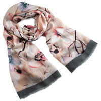 Classic women's scarf - beige and grey