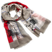Classic women's scarf - beige and red