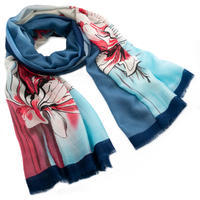 Classic women's scarf - blue and red