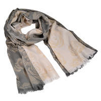 Classic women's scarf - grey and beige