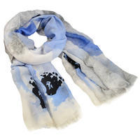 Classic women's scarf - grey and blue