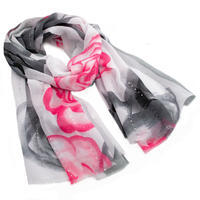 Classic women's scarf - drey and pink