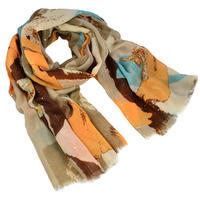 Classic women's scarf - brown and yellow