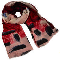 Classic women's scarf - dark red and pink
