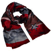 Classic women's scarf - dark red and brown
