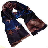 Classic women's scarf - violet and blue