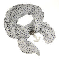 Warm scarf with necklace - grey&wine-coloured