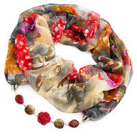 Jewelry scarf Extravagant - red and grey