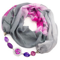 Scarf Extravagant - grey with flowers
