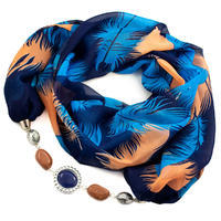 Scarf Extravagant - blue and brown