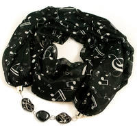Scarf Extravagant - black and white