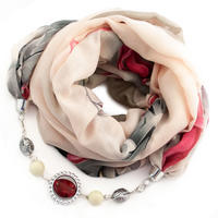 Cotton jewelry scarf - beige