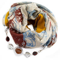 Cotton jewelry scarf - beige and mustard yellow