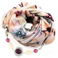 Cotton jewelry scarf - beige and grey