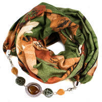 Cotton jewelry scarf - green