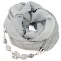 Cotton jewelry scarf Bijoux Me - grey