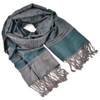 Classic cashmere scarf - bluegreen and grey