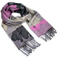 Classic warm scarf - pink and black
