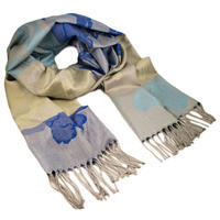 Classic warm scarf - blue and beige
