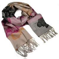 Classic warm scarf - brown and wine red