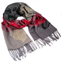 Classic warm scarf - grey and red