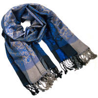 Classic warm scarf - grey and blue