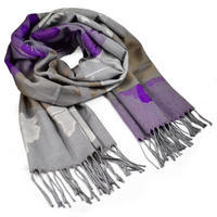 Classic warm scarf - grey and violet