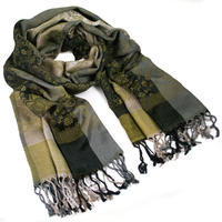 Classic warm scarf - grey and green