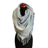Blanket square scarf - white and grey