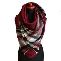 Blanket square scarf - red and white
